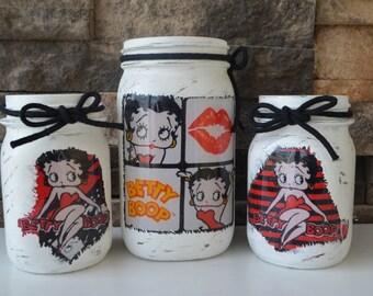 Set of 3 Betty Boop Decorative Jars