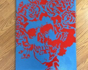 Handmade Grateful Dead Skull and Roses Canvas Wall Art & Grateful dead art | Etsy