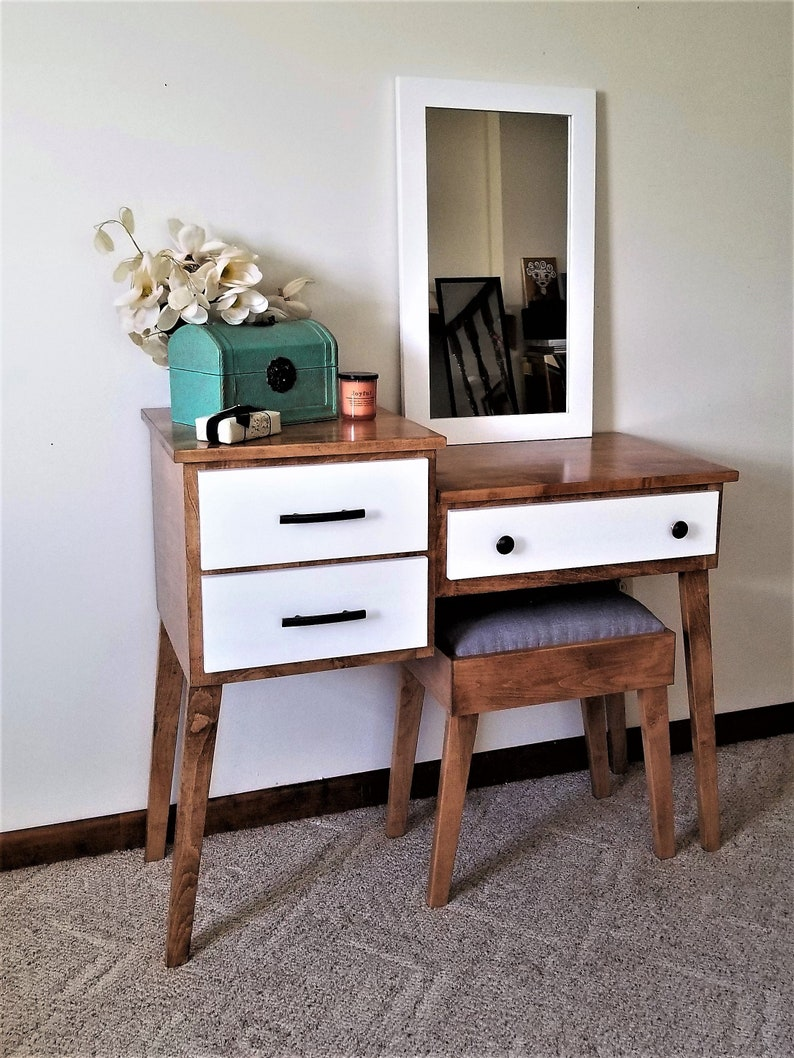 Mid Century Modern Makeup And Vanity Table By Meagans Mood Etsy