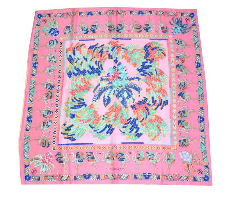 8fa8a206c38 Must de Cartier Scarf Flamingo jeweled Pink 87 cm Silk Foulard