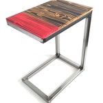 Wood and Steel C Table, Modern Rustic Side Table, Handmade Torched Wood