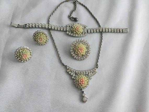 Mid Century early plastic earrings retro jewelry 50s Vintage CELLULOID earrings 1950s flower beaded earrings