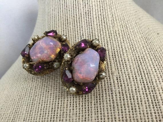 Schiaparelli Purple Clip On Earrings Vintage Stunn