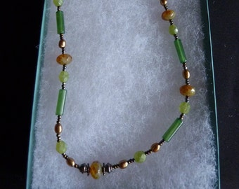 Vintage Pearl Green Agate Stone Necklace Sterling Silver