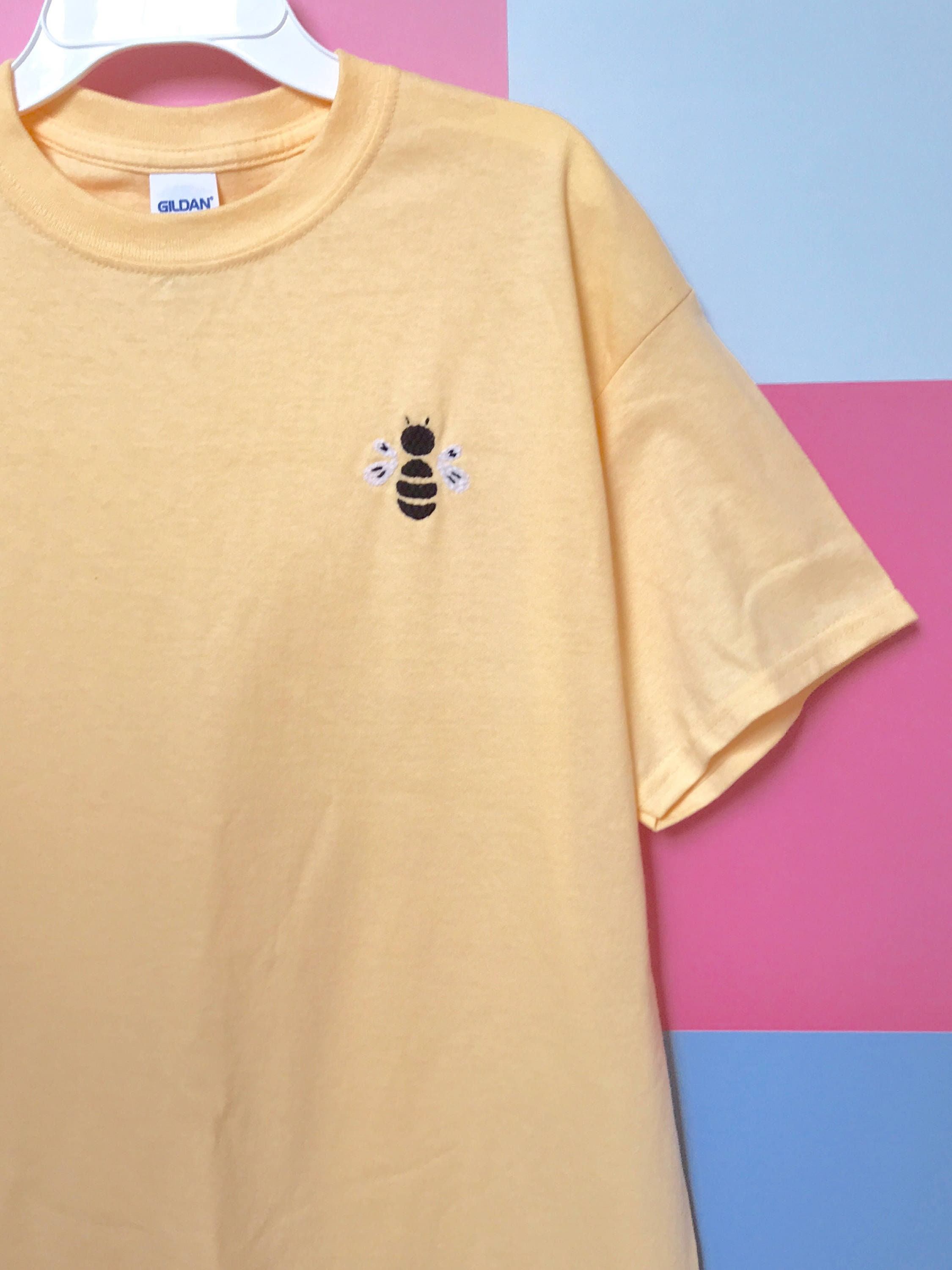 Embroidered Bee T Shirt Etsy