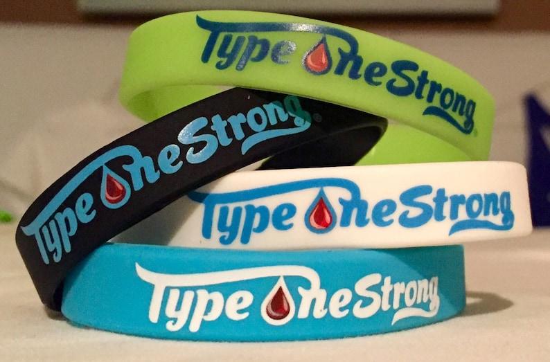pulseras de goma con soporte para diabetes tipo 1
