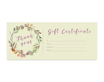 woodland animals deer red plaid gift certificate premade etsy