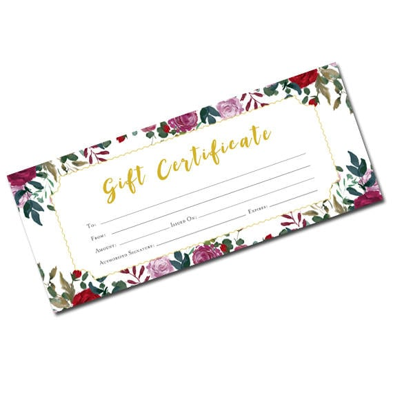 Flower Gift Certificate Gift Certificate Template Gift Etsy