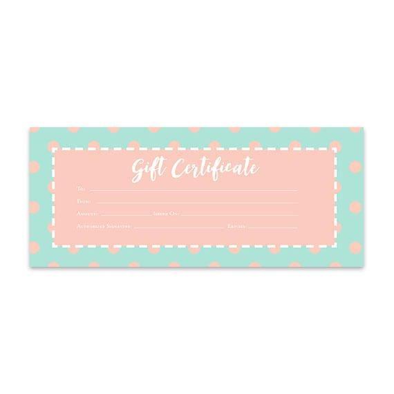 Polka Dots Peach Green Printable Gift Certificate Mint
