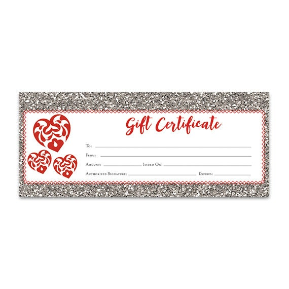 red heart glitter gift certificate download premade gift etsy
