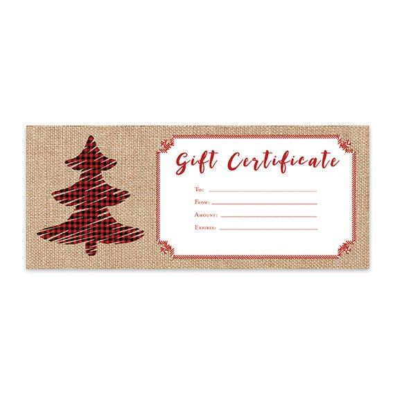 Burlap Plaid Christmas Tree Gift Certificate Template Etsy