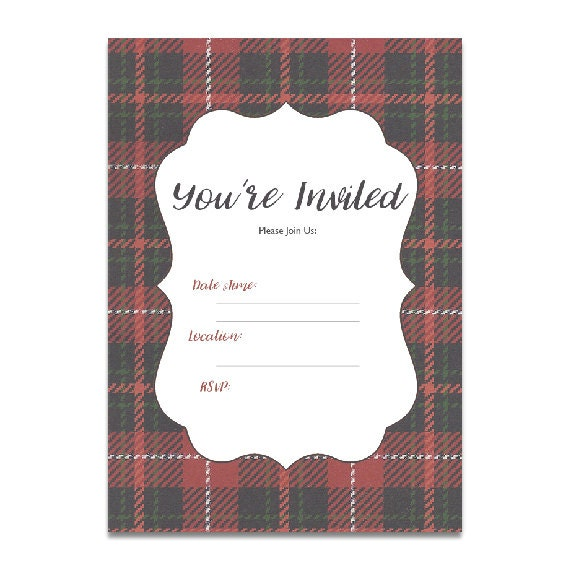 plaid christmas instant download party invitation blank etsy