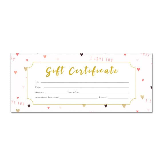 Valentines Gift Certificate Gift Certificate Template Gift Etsy