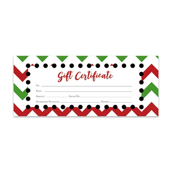 Christmas Gift Certificate Ideas.Chevron Christmas Gift Certificate Download Premade Gift Certificate Template Printable Last Minute Gift Ideas Blank Gift Certificate