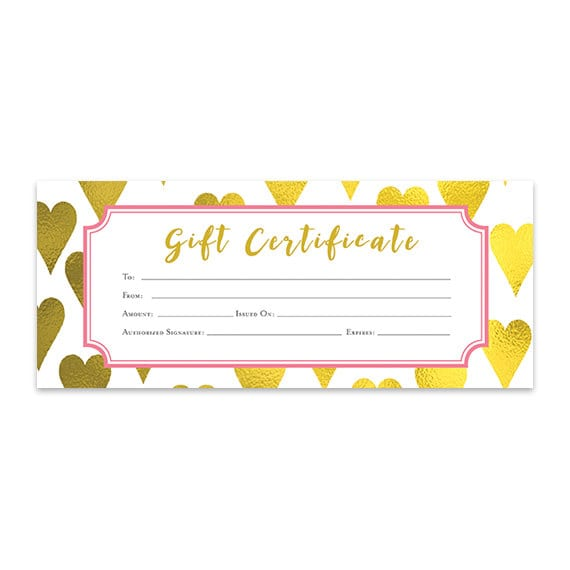gold heart heart gold foil gift certificate download etsy