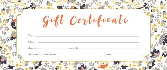 Imprimé Floral Cadeau Vierge Premade Certificat Cadeau Modèle De Certificat Cadeau Imprimable Idées Cadeaux De Dernière Minute