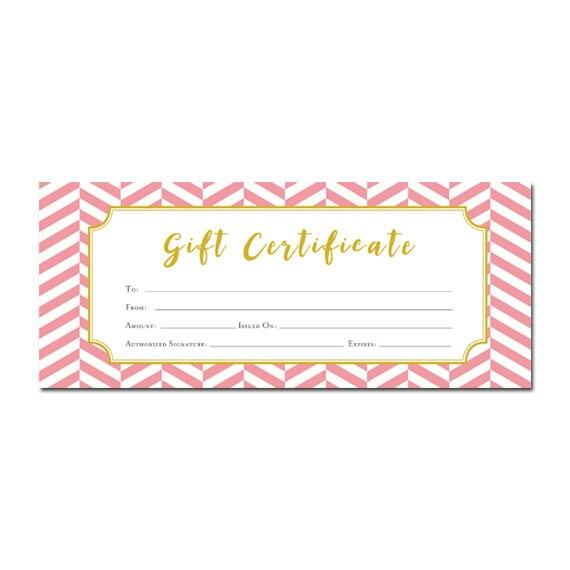 Chevron Pink Chevron Gift Certificate Customer Appreciation