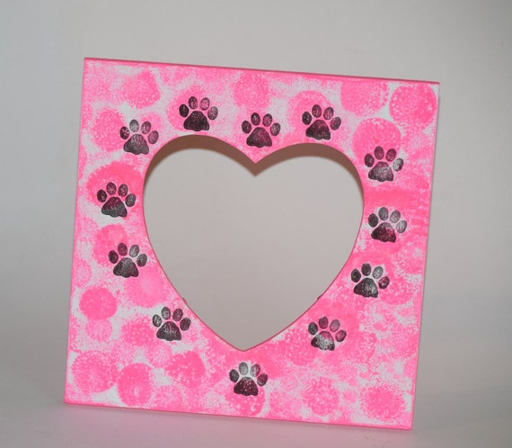 Neon Pink paw print picture frame, neon pink decor, hot pink frame ...