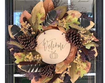 Welcome Pumpkin Front Door Wreath Wood Sign, Front Door Decor, Fall Front Porch, Fall Decor, Wreath Decor, Autumn Decor, Door