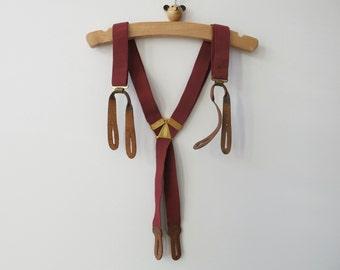 VINTAGE MEN SUSPENDERS - Red elastic suspenders from 1953  France for boys or men