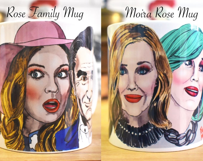Moira Rose and Rose Family mugs