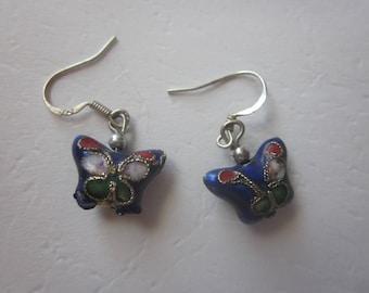 Vintage Sterling Silver Enamel Butterfly Earring
