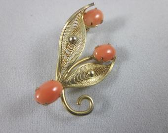 Vintage 14K Gold Filled Coral Brooch Pin