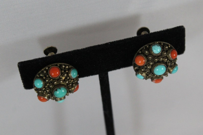 Antique Chinese Sterling Sliver Natural Turquoise with Coral Screw Back Earring