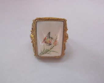 Vintage Chinese Adjustable Hand Paint Bone-made Ring
