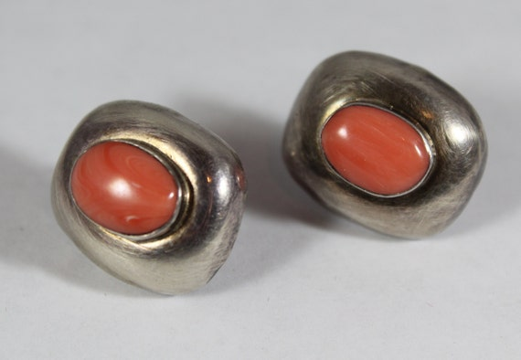 Vintage Sterling Silver Rhodonite Earring
