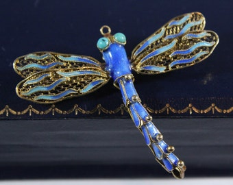 Vintage Chinese Sterling Silver Blue Enamel Dragonfly Natural Turquoise Pendant / Brooch
