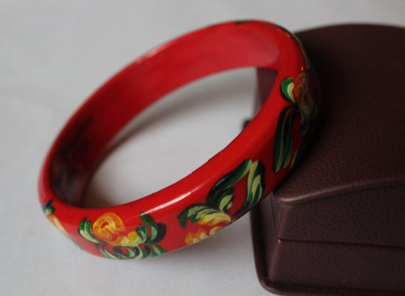 Russian Wooden Hand Paint Flower Bracelet