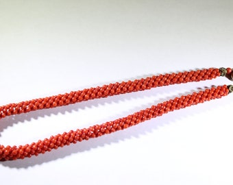 Victorian 12K Woven Red Coral Bead Necklace