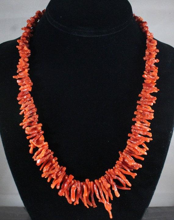 Vintage Sterling Silver Navojo Natural Orange Red Coral Pendant Necklace