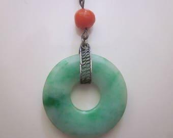 Vintage Jadeite Disks with Natural Coral Necklace