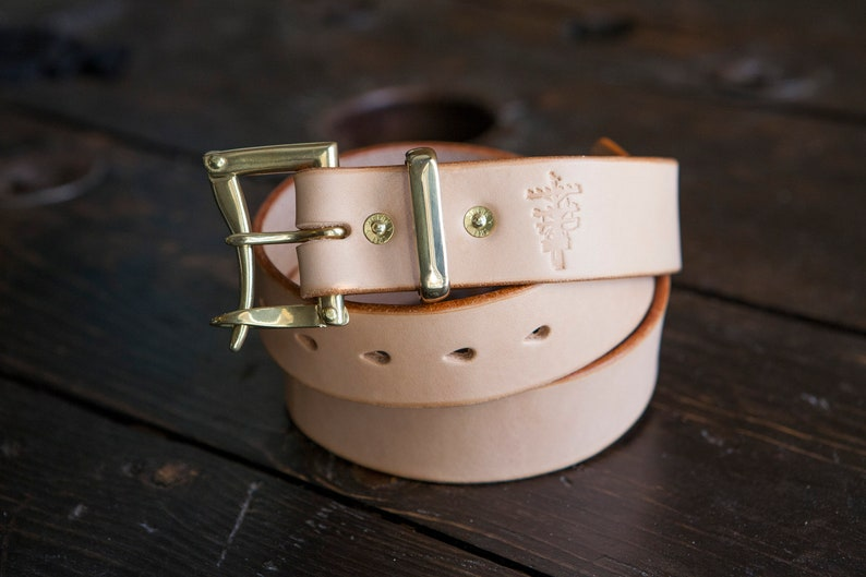 1.5 Natural Leather Belt Brass Firefighter s Quick  3a4702def38eb