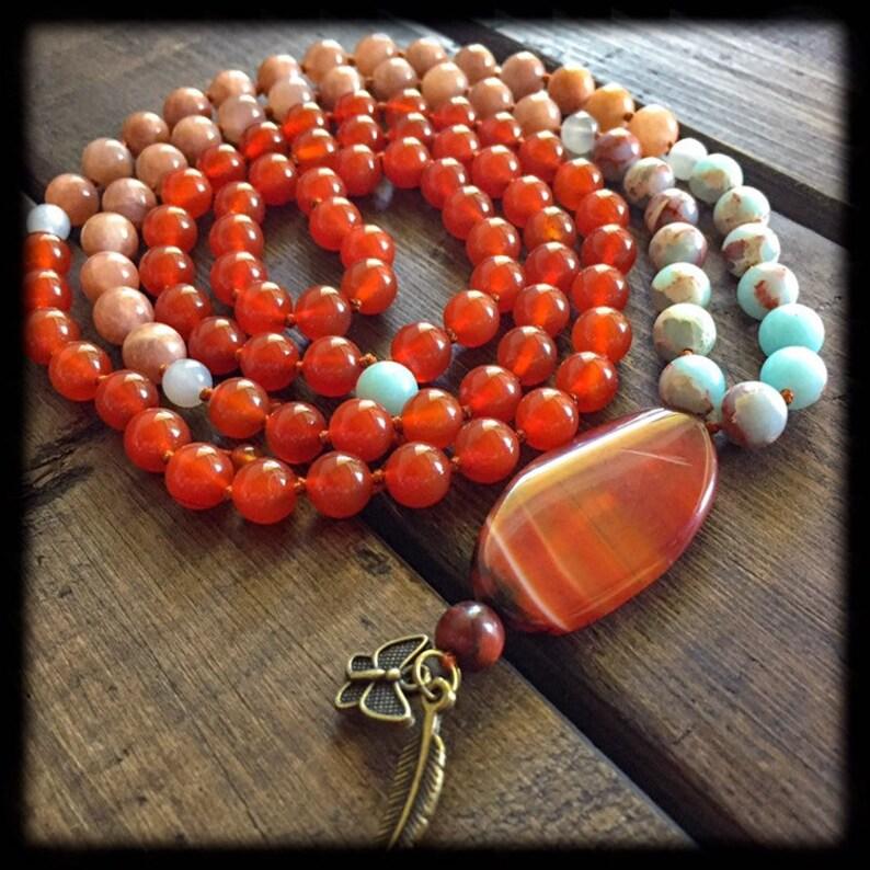 Sacral chakra 108 beads necklace image 0