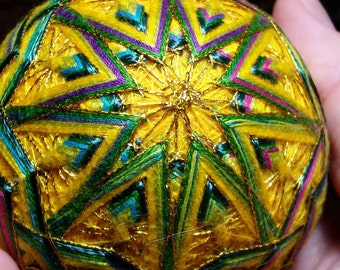 Yellow Green Temari Egg Thread Ball Japanese