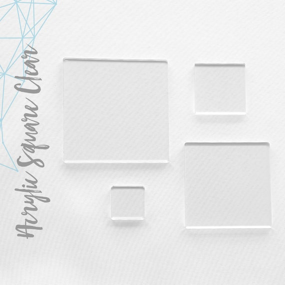 100 clear acrylic square blanks select size 1 8 or etsy