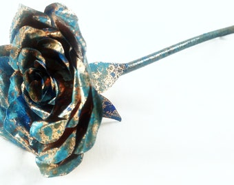 Copper Patina Rose (Ice Rose) Hand Made Blue Rose