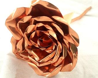 Copper Rose / Hand Forged Metal Rose / Seventh / 7th Anniversary / Handmade Flower / Straight Stem Rose