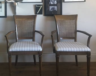 Pair of Vintage Mid Century Modern Host Dining Chairs Captain Arm Chairs Home Decor Kitchen