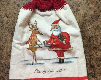 Santa and Reindeer Crocheted Hanging Kitchen Towel