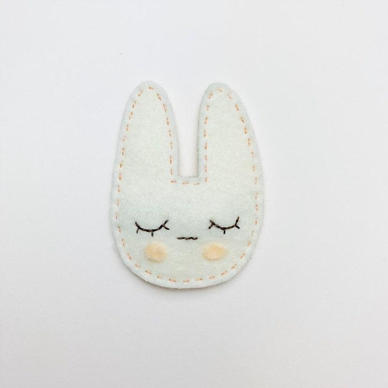 Wool Felt Sleepy Bunny Snap Hair Clip