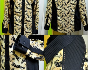 Stylish Combined Shirt OOAK (One-of-a-kind) Men's Clothing Fashionable Handmade Stretch Men's Shirt