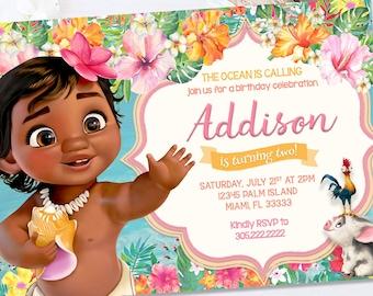 Baby Moana Birthday Invitation Summer Tropical Pool Party Supplies Decor