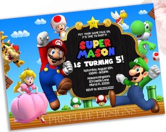 Luigi invitations etsy super mario invitation super mario birthday filmwisefo