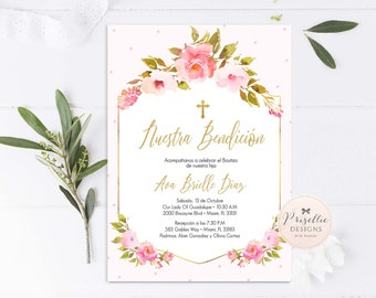 Baptism invitation spanish etsy girl baptism invitation in spanish floral baptism girl invitation invitaciones de bautizo flores rosado y dorado stopboris