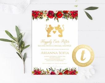 88e11df6f028 Disney bridal shower invitations