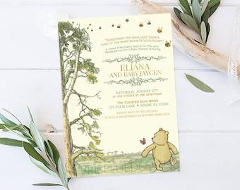 Winnie the Pooh Baby Shower Invitation, Classic Winnie the Pooh Baby Shower Invitation, Storybook Baby Shower Invitation, Winnie the Pooh